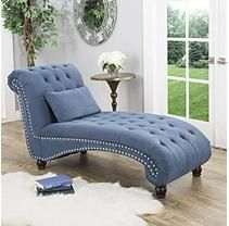 Bainbridge Fabric Chaise Lounge Blue Tufted Chaise Lounge