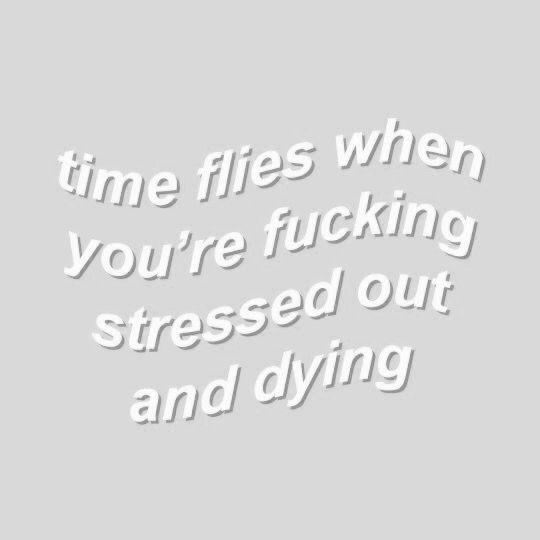 Who Said Time Flies When You Re Having Fun Quote: Me // Aesthetic, Grey, Gray, White, Stress, Words, Tumblr