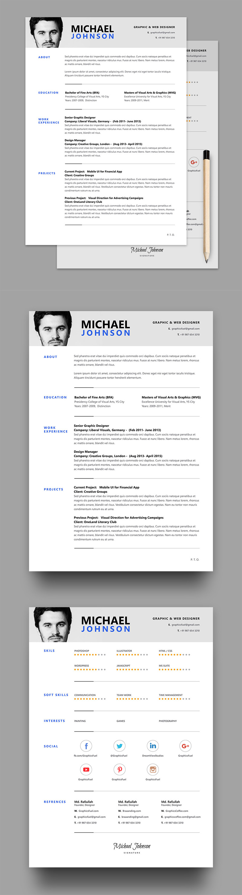 Clean and Structured Resume PSD Template Graphic resume