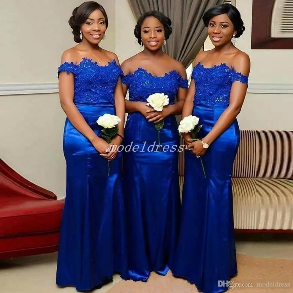 Royal Blue Mermaid Bridesmaid Dresses Off Shoulder Floor Length