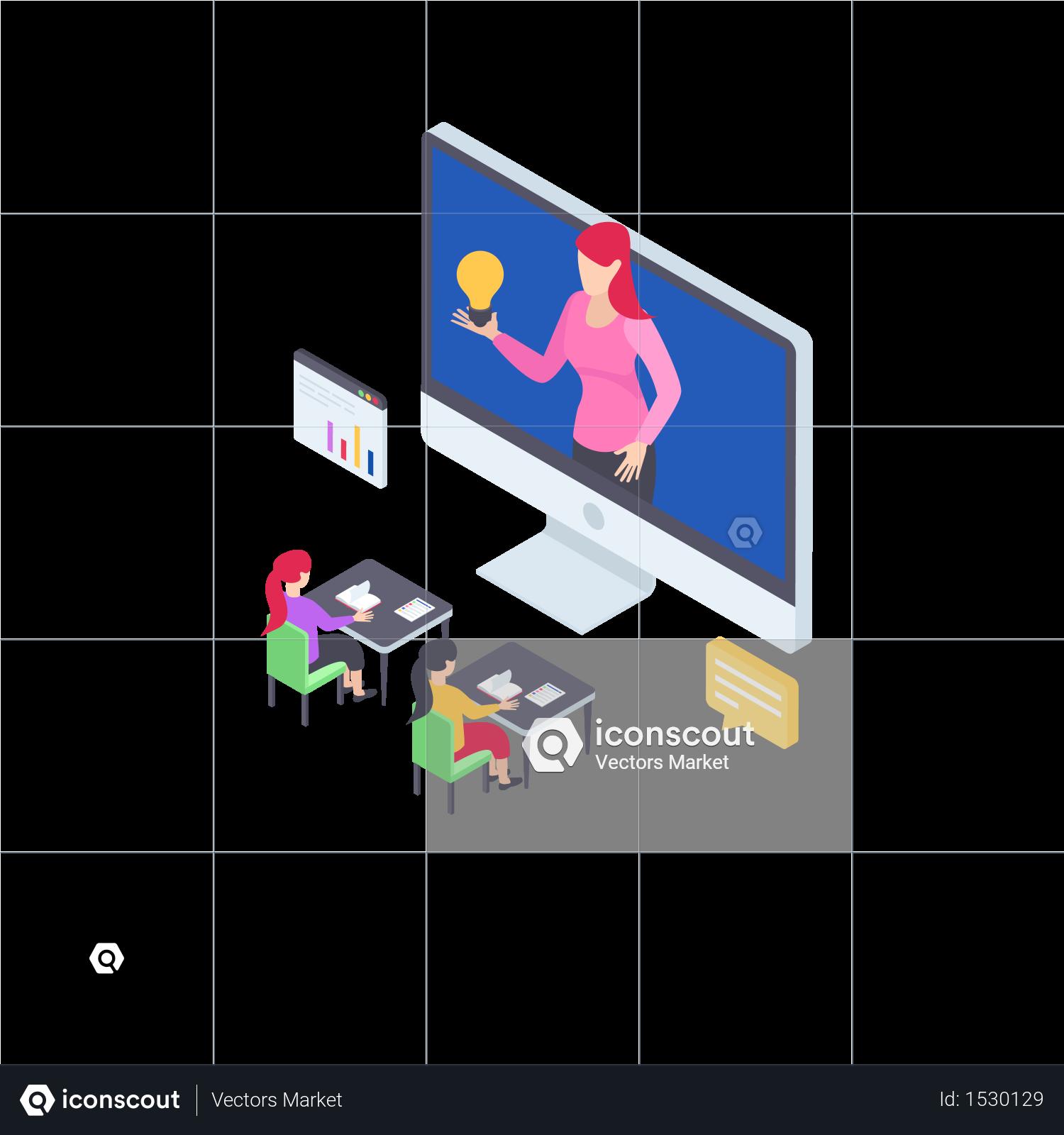 Premium Online Training Illustration download in PNG