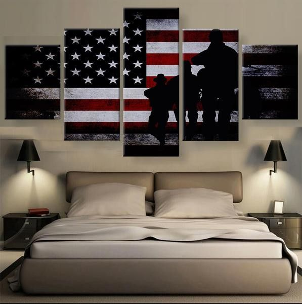 5 Panel Dallas Cowboys Canvas Prints Painting Wall Art Nfl: American Soldiers Silhouette Flag