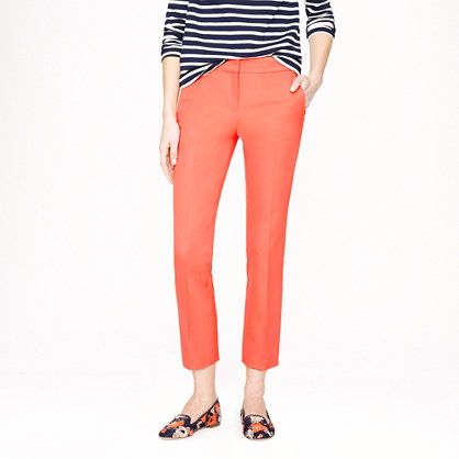 Colored pants are definitely an office do! A crisp white blouse, neutral blazer, and nude pumps make this pop of color look completely professional.  J.Crew - Spring 2014 - Campbell capri in stretch cotton