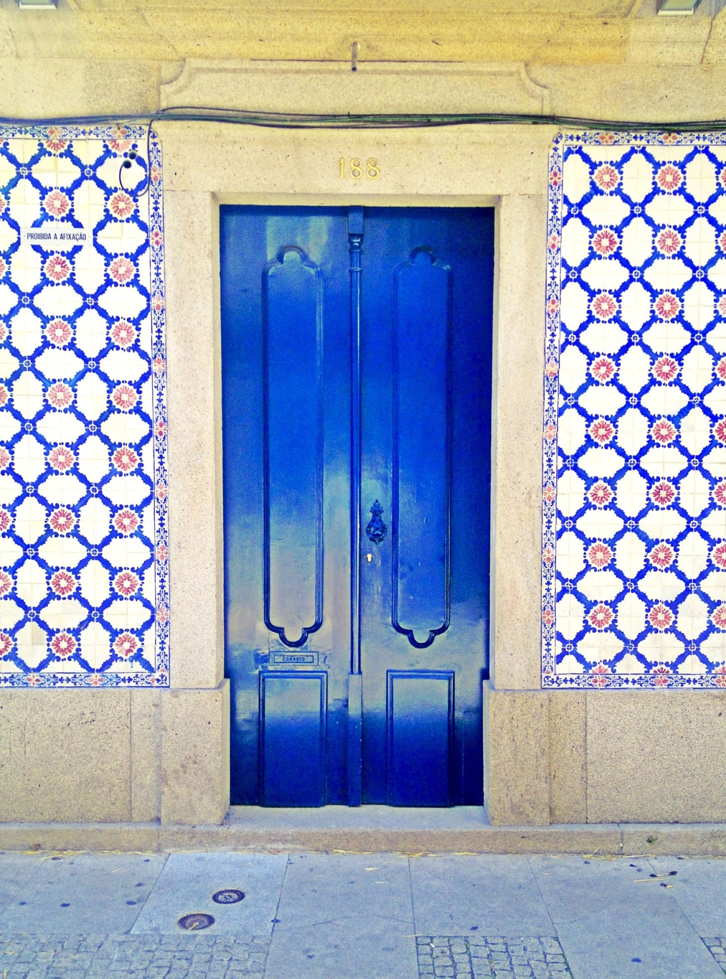 Blue wood epic door at Viana do Castelo, Portugal.