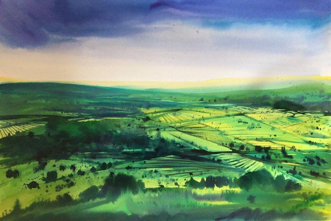 Englische Landschaftsmalerei Aquarellmalerei Original Aquarell