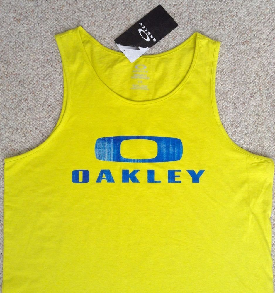 New OAKLEY TANK TOP Bright/Neon Yellow & Blue Sleeveless Beach T ...