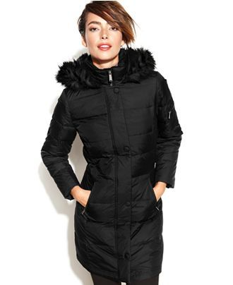 Dkny black down coat with faux fur trim