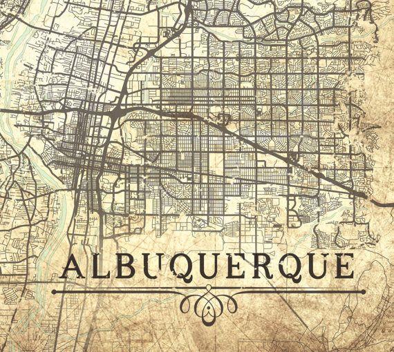 ALBUQUERQUE NM Canvas Print New Mexico Vintage By NatalyBorichArt - Albuquerque map