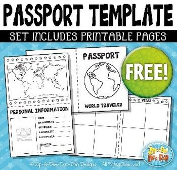 {FREE} Passport Booklet Template Set Includes 3 Page Templates!You Will  Receive 3  Free Passport Template For Kids