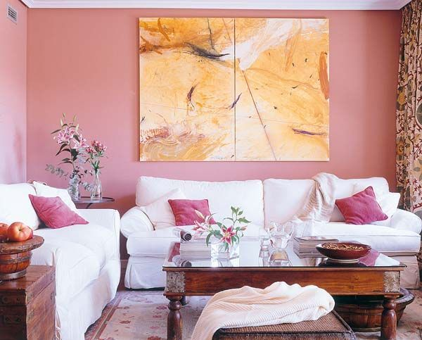 Pink living room  love the yellow artwork also pin by maria conroy on decor lr  foyer pinterest foyers rh