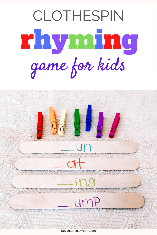 Clothespin Rhyming Words In 2020 Rhyming Words Rhyming Activities Literacy Activities Kindergarten