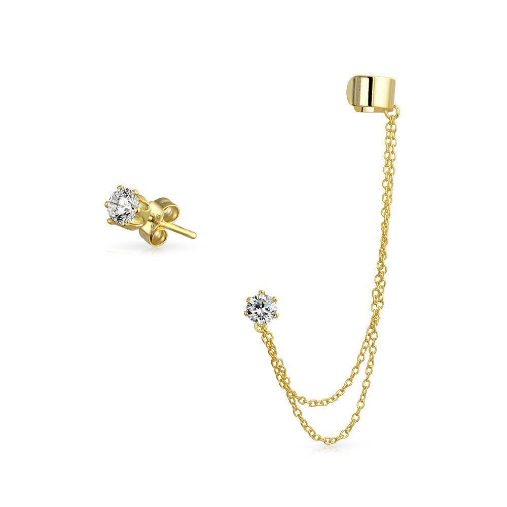 Bling Jewelry Gold Plated 925 Silver Double Chain CZ Linked Modern Ear Cuff Set