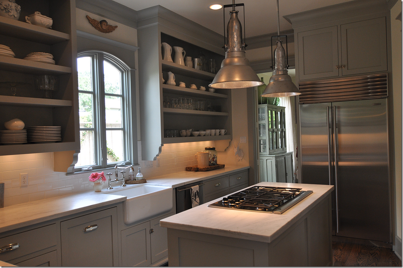 farm house sink and gray cabinets