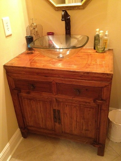Antique Chinese Cabinet Used As Bathroom Vanity Eclectic
