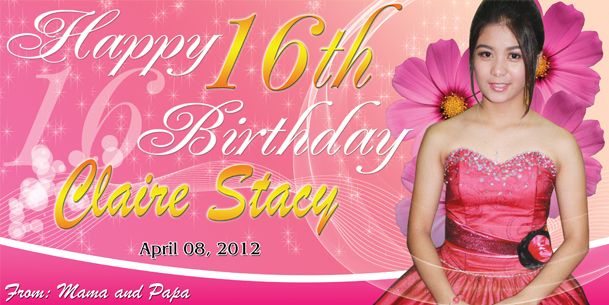 Birthday Tarpaulin 16th Birthday Theme Template PSD Pao Graphics