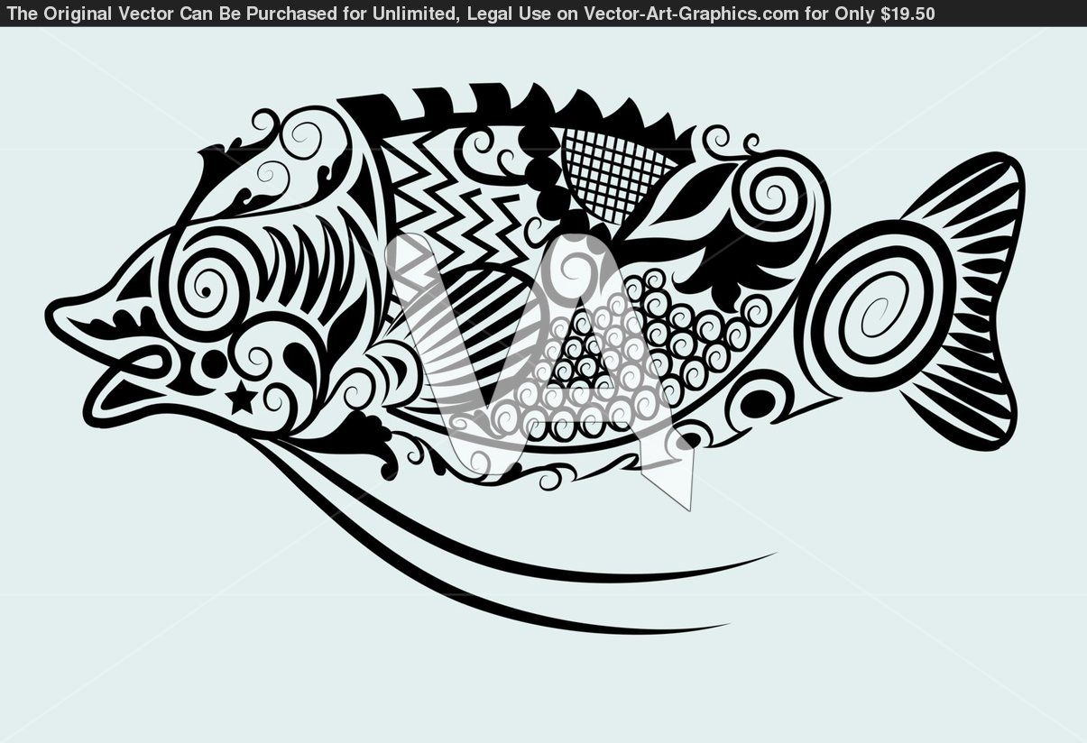 Fish Drawing With Floral Ornament Decoration Easy To Edit 263a85a Jpg 1205 824 Ornament Drawing Fish Vector Drawn Fish