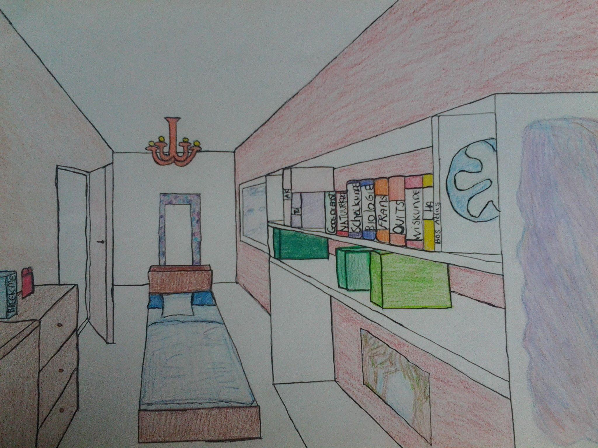 Kamer in perspectief opdracht tekenen pinterest for 3d slaapkamer maken