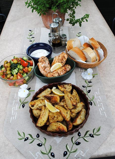 Judy Flack made Stella's Crispy Lemon potatoes from my Greek Village Cooking book. Just look at that spread, YUM!