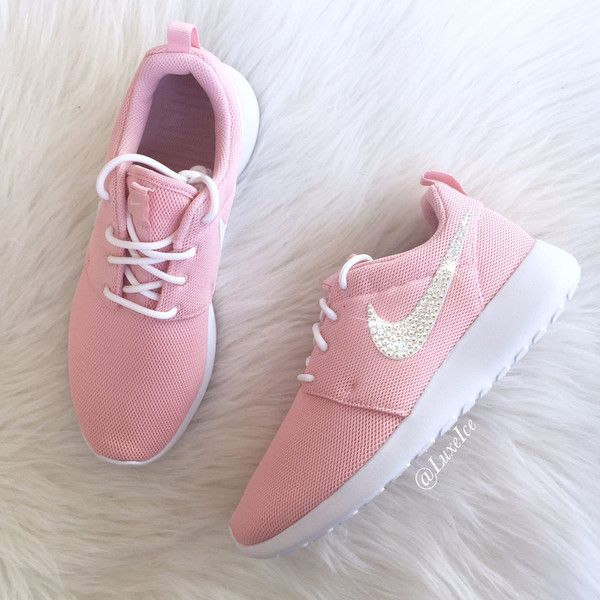 online retailer 192b6 c1aca Nike Roshe One Pink sheen white white With Swarovski Xirius Rose-Cut... (  145) ❤ liked on Polyvore featuring shoes, athletic shoes, silver, sneakers  ...