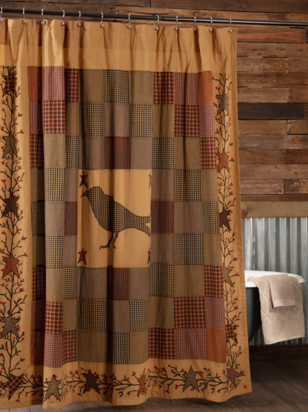 Heritage Farms Crow Shower Curtain 72x72 Primitive Bathrooms