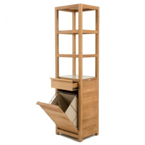 Pacifica Teak Laundry Hamper And Shelf With Images Teak