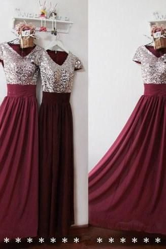 Silver Sequins Burgundy Chiffon Long Prom Dresses Bridesmaid Party Wedding Gowns