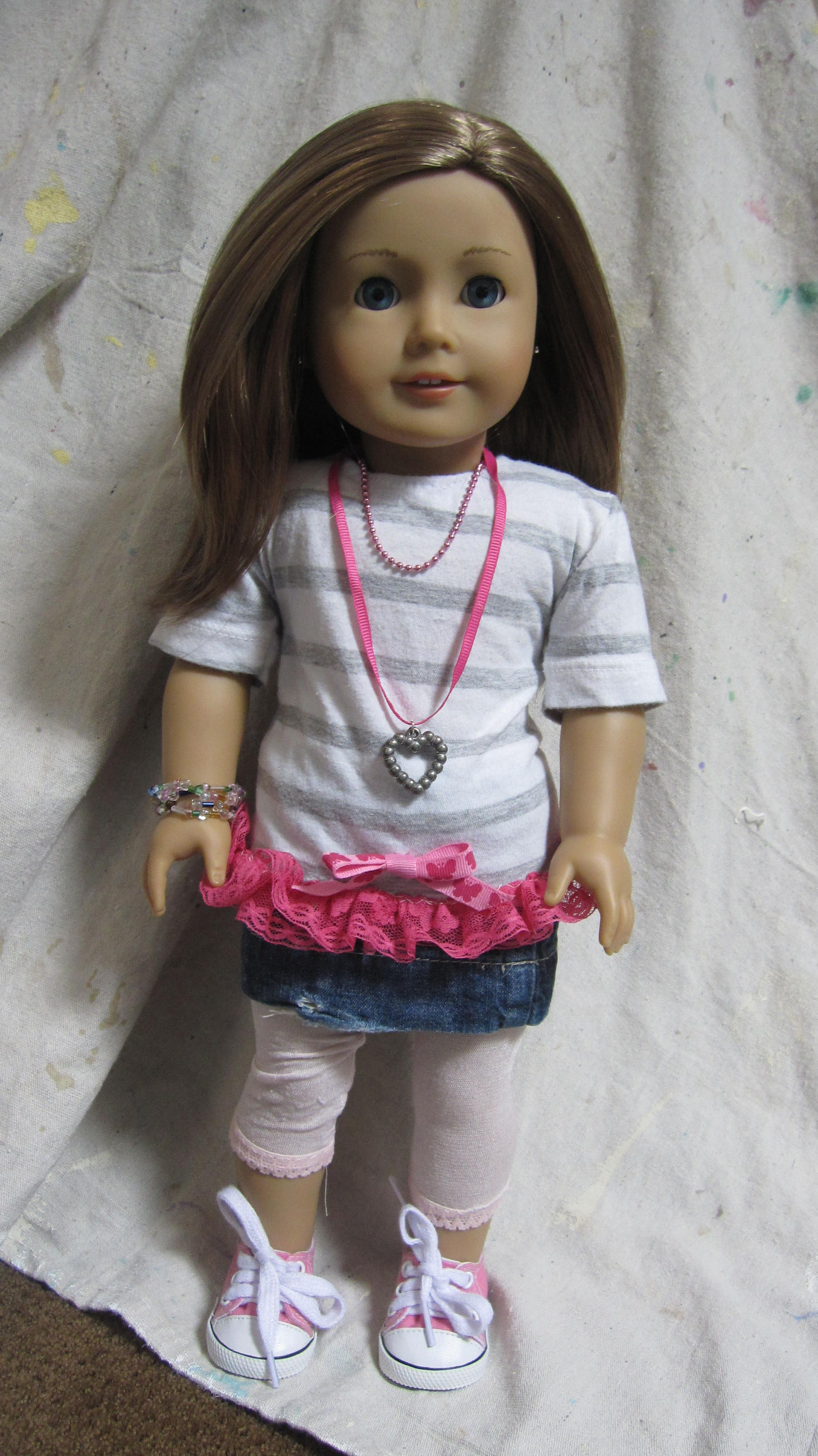 American Girl Doll. Emma wearing repurposed t-shirt fabric with pink ...