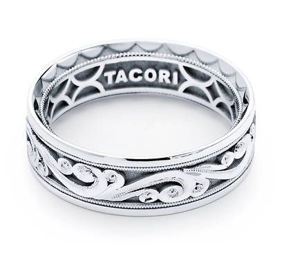 From this day forward, Tacori has officially changed the way Men are dressing! Tacori understands that men play sports and also dress up, so we are going back to class of our Fathers & Grandfathers with a spike of new bands for Gentlemen. With a unique vented interior the new Tacori bands are now lighter and more stylish than ever. With unique hand-engraved signature Tacori details decorating this 7mm crescent engraved band, you will not be able to take your eyes off this stunning design!