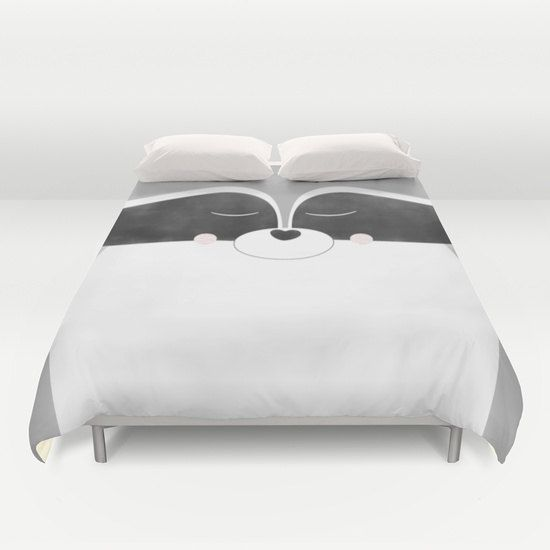 Animal Duvet Cover Racoon King Queen Full Twin Bedding by Narais