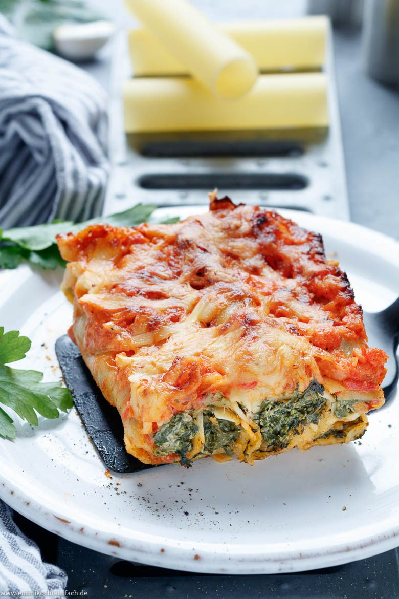 Photo of Cannelloni with herb cream cheese and spinach filling – emmikochte …