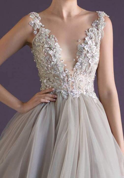 light grey lace wedding dresses - Google Search | Grey Wedding ...
