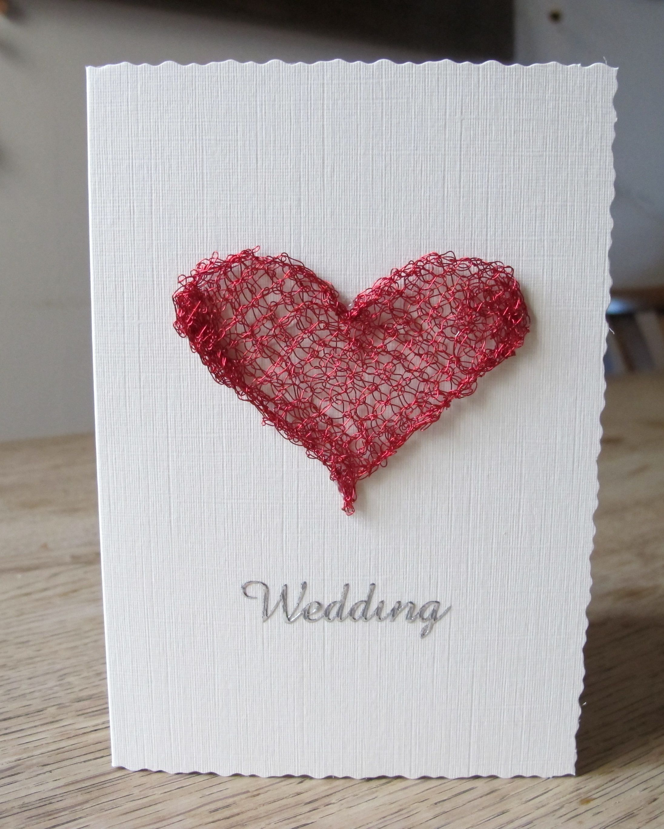 A knitted wire heart Wedding card. Knitted using 0.20mm red wire and ...