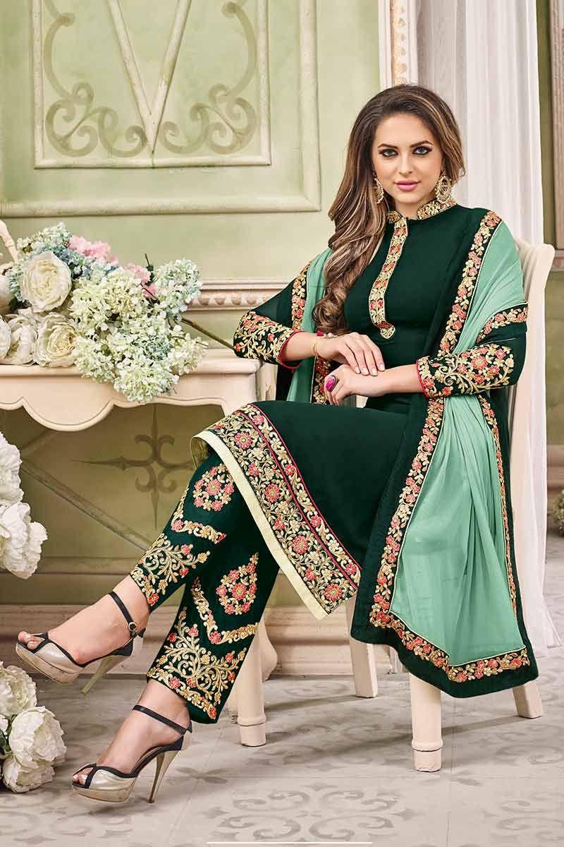 89925459b5 Dark Green Georgette Salwar Kameez Price - £63.00 Occasion Party Wear,  Wedding Wear, Festival Wear, Ceremonial Color Green Fabric Chiffon,  Georgette, ...