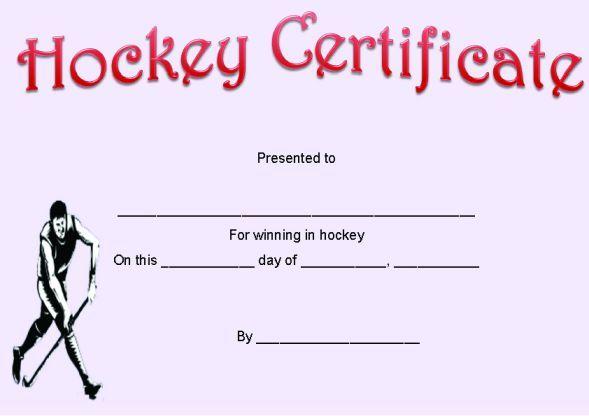 Hockey Certificate Hockey Certificate Templates Pinterest