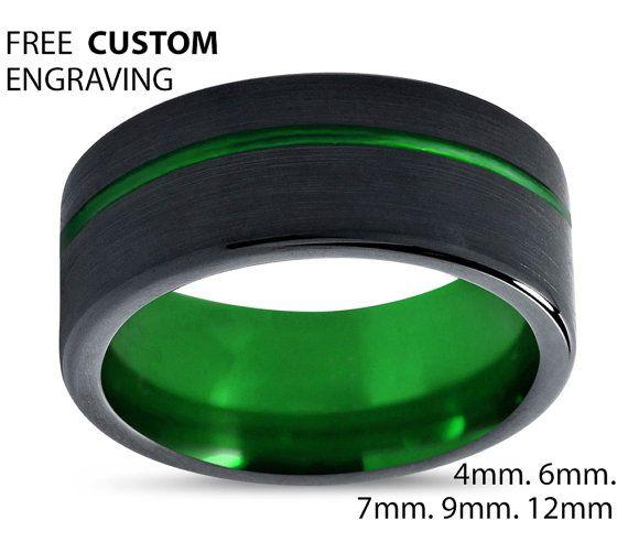 Mens Wedding Band Black Green Wedding Ring Tungsten Ring 8mm