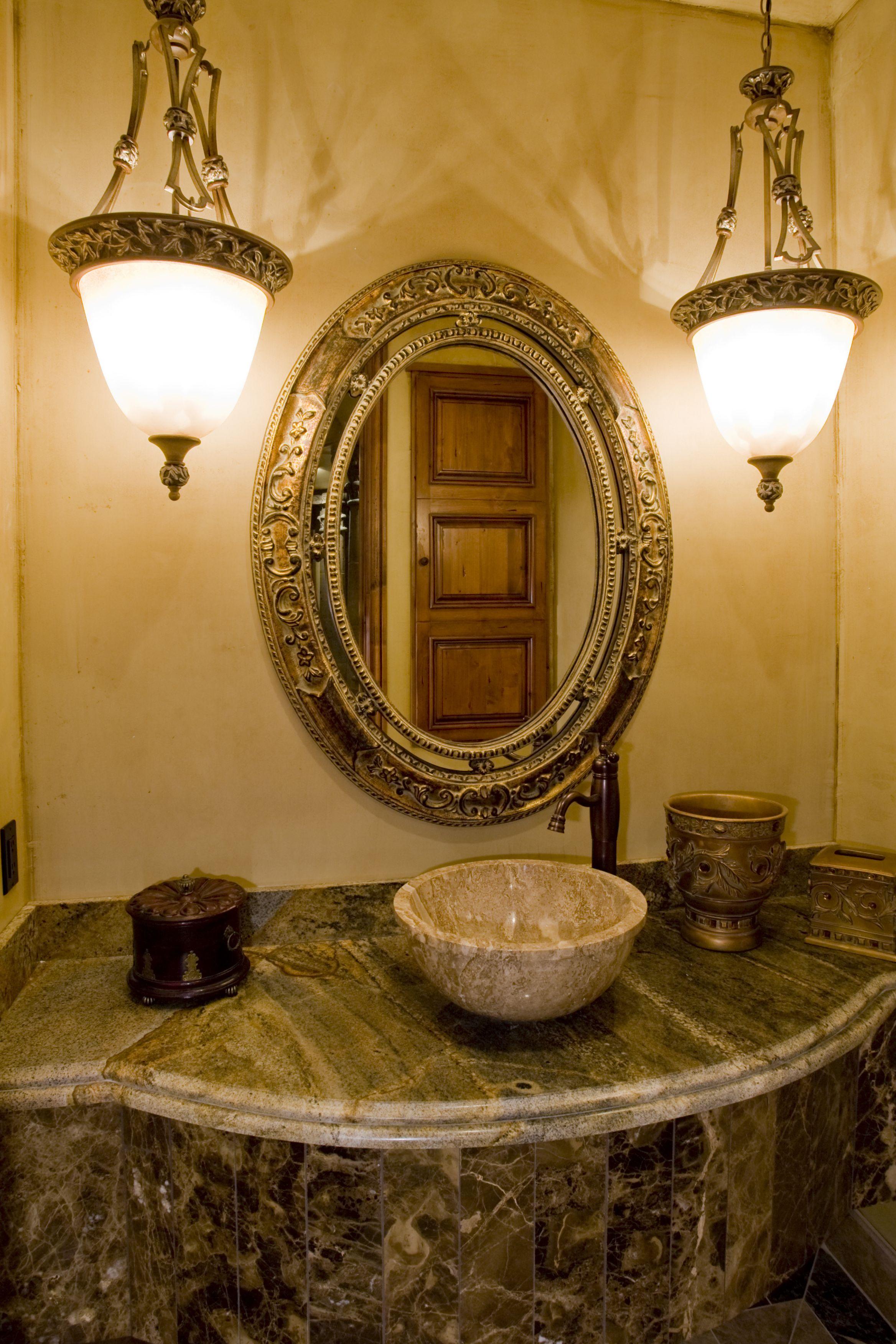 Powder Bathroom with Stone Vessel Sink Bath