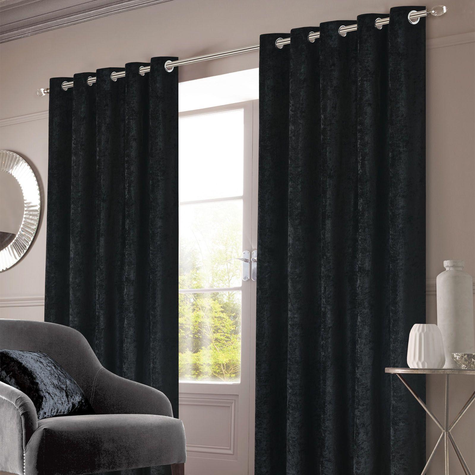 Sienna Home Crushed Velvet Eyelet Curtains Black Black