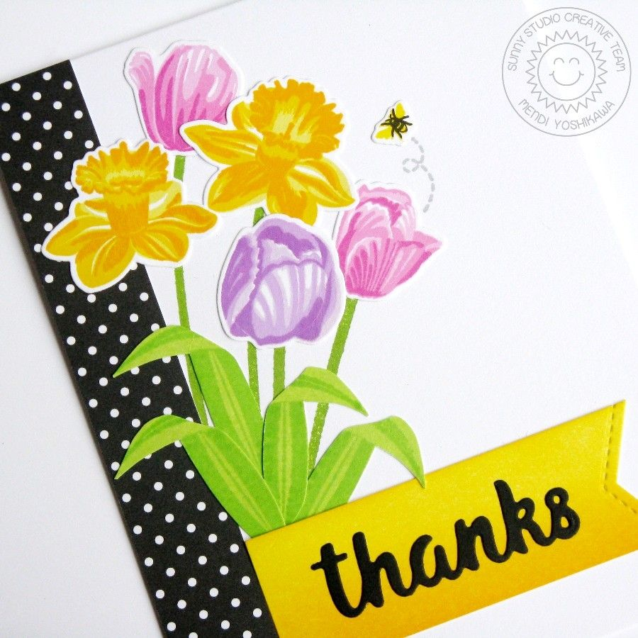 Sunny studio stamps tulip u daffodil spring bouquet thank you card
