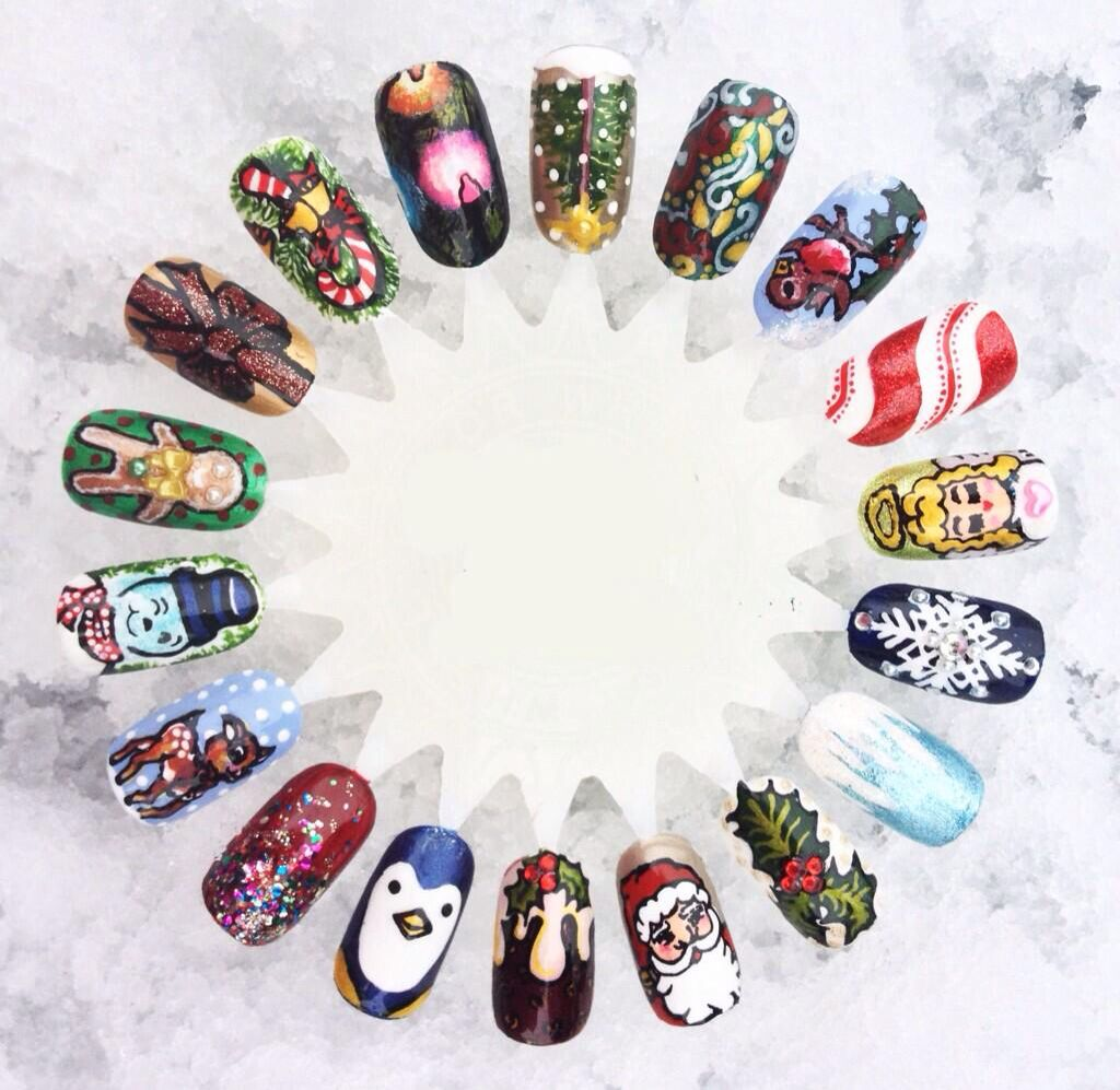 Christmas nail wheel by Nailed by Grace