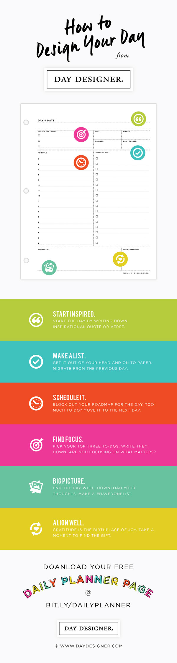 how to design your day 1 start inspired 2 make a list 3 schedule