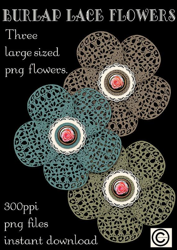 Burlap Lace Flowers Graphics Instant Download Digital Art PNG New in #etsystudio #designerresources #digitaldownloads #digitals