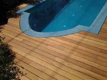 Wood Decking Flush To Pool Tiles Outdoor Oasis Pool Tile Wood Deck
