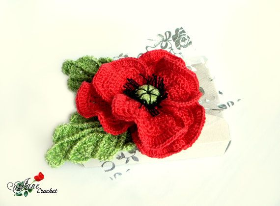 Red poppy flower crochet brooch. Cotton Corsage Brooch. Gifts for ...