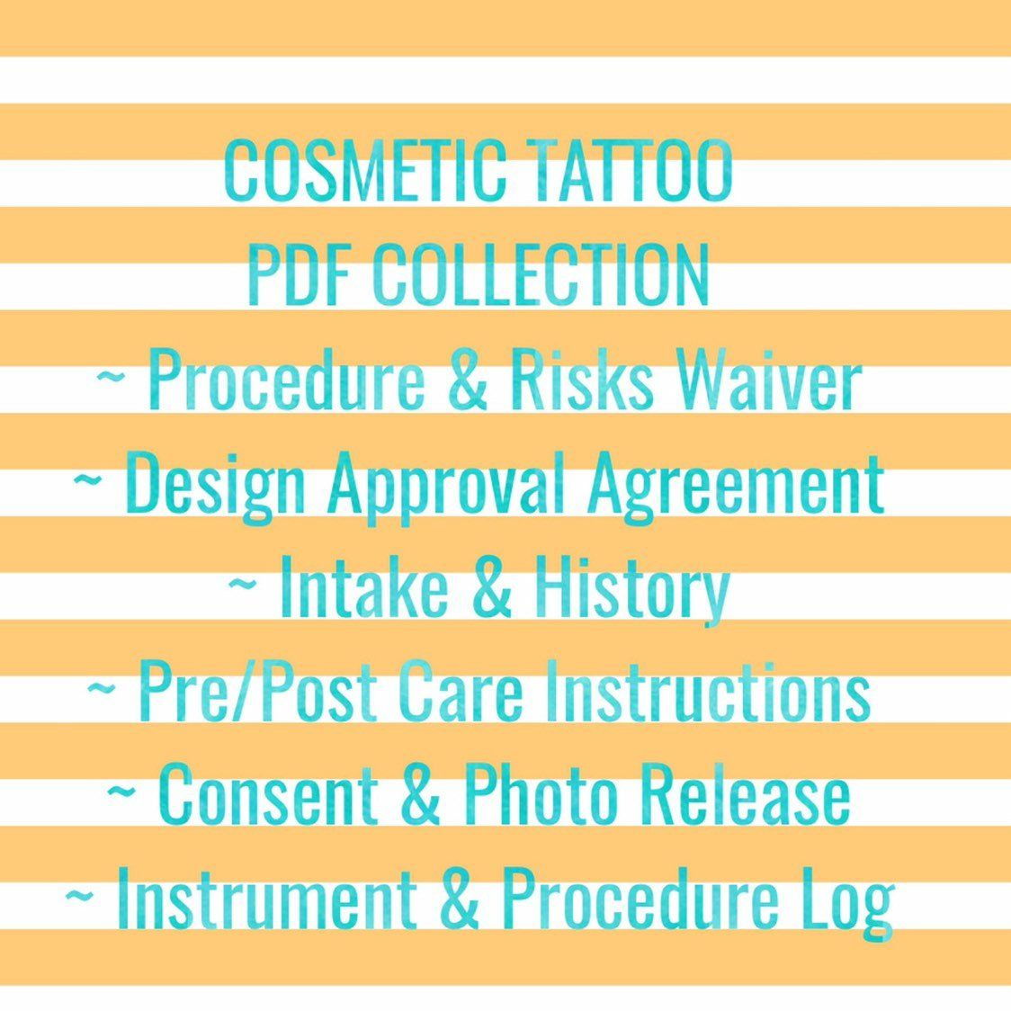 Permanent Makeup Cosmetic Tattoo Forms add your Logo