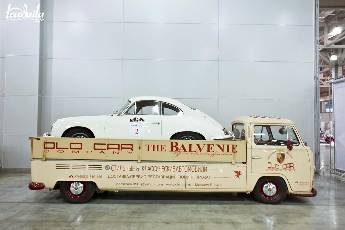 Porsche 356 race car atop a stretched VW transporter. Fantastic ...