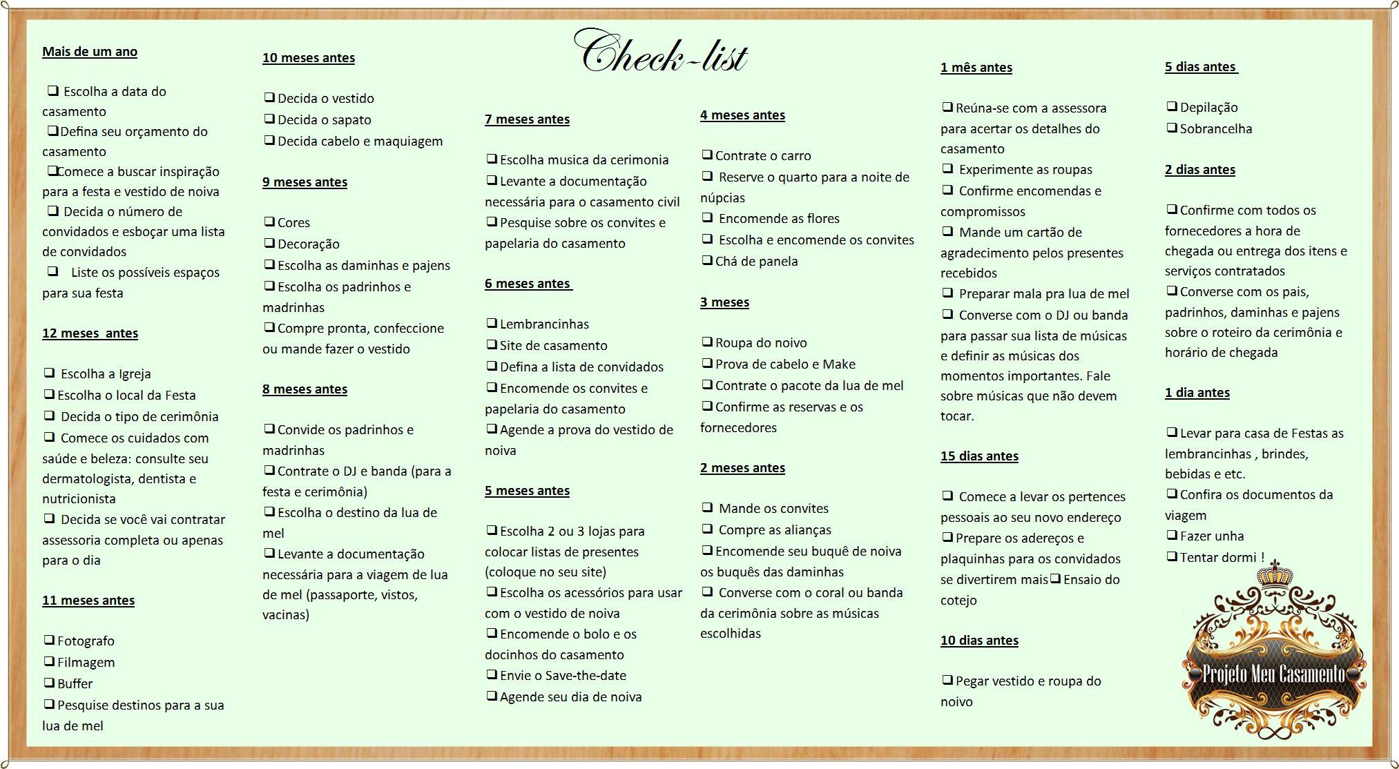 Passo A Passo Check List Completo Para Organizar Seu Casamento