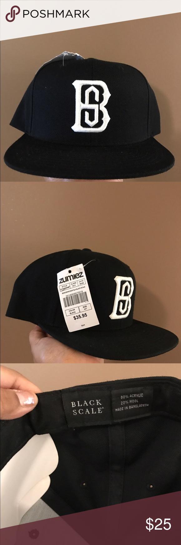 Black scale hat black and white original brand new black scale