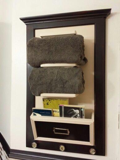 Bathroom Organizer Towel Rack Shelf Magazine Rack Made From A