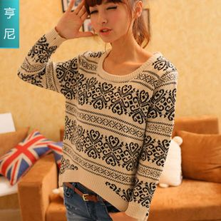 new commuter restore ancient ways jacquard upset Europe and the United States women's college wind lovely sweater knit shirt
