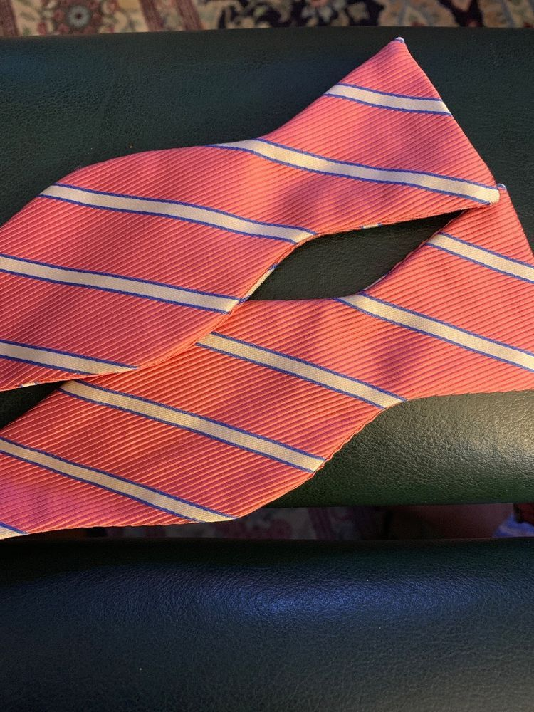 7f027286d5e0 Mens Brooks Brothers Makers Pink White Blue Striped Pure Silk Bow Tie   eBay